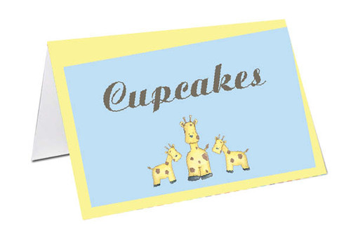 Baby Giraffe Baby Shower Personalised Baby Shower Place Cards, Buffet Cards & Name Cards.