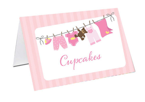 Pink Baby Clothesline Baby Shower Personalised Baby Shower Place Cards, Buffet Cards & Name Cards.