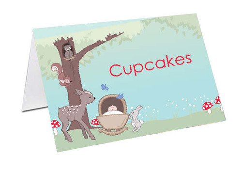 Baby Forest Animals Baby Clothesline Baby Shower Personalised Baby Shower Place Cards, Buffet Cards & Name Cards.