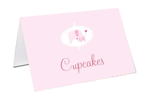 Pink Baby Elephant Baby Shower Personalised Baby Shower Place Cards, Buffet Cards & Name Cards.