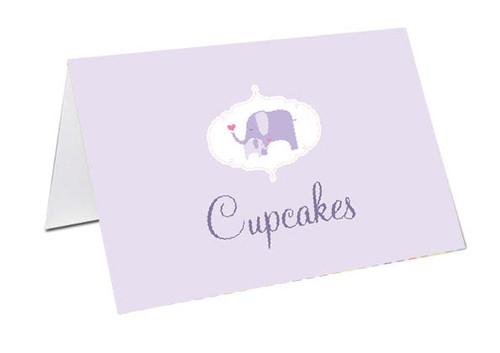 Purple Baby Elephant Baby Shower Personalised Baby Shower Place Cards, Buffet Cards & Name Cards.