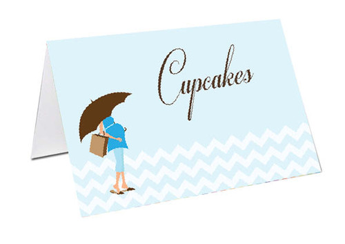 Blue Mum to Be Baby Shower Personalised Baby Shower Place Cards, Buffet Cards & Name Cards.