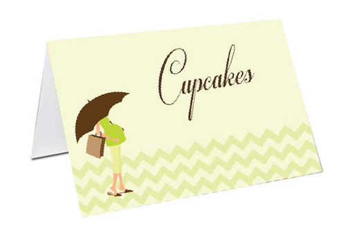 Green Mum to Be Baby Shower Personalised Baby Shower Place Cards, Buffet Cards & Name Cards.
