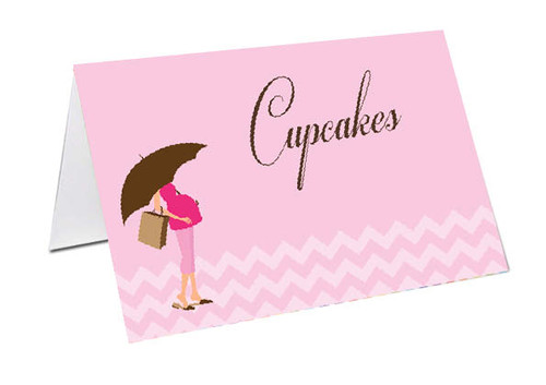 Pink Mum to Be Baby Shower Personalised Baby Shower Place Cards, Buffet Cards & Name Cards.