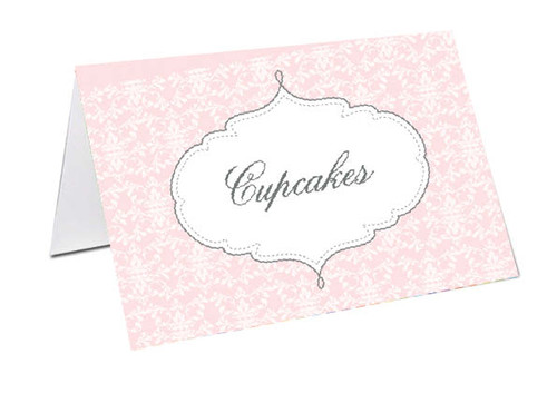 Pink Damask Baby Shower Personalised Baby Shower Place Cards, Buffet Cards & Name Cards.