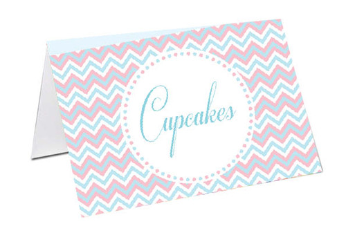 PInk & Blue Chevron Baby Shower Personalised Baby Shower Place Cards, Buffet Cards & Name Cards.