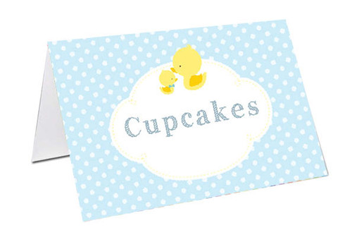 Little Duck on Blue Baby Shower Personalised Baby Shower Place Cards, Buffet Cards & Name Cards.