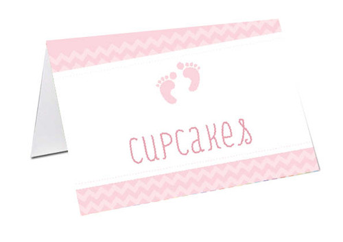 Pink Footprints Baby Shower Personalised Baby Shower Place Cards, Buffet Cards & Name Cards.