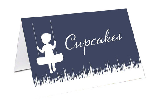 Silhouette swing personalised baptism, christening name cards and placecards.
