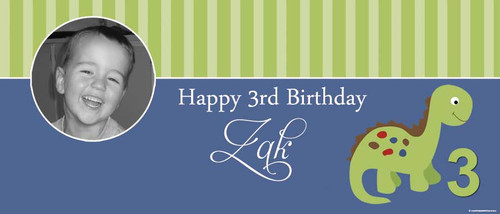 Little Dinosaur Party Personalised Birthday Banner.