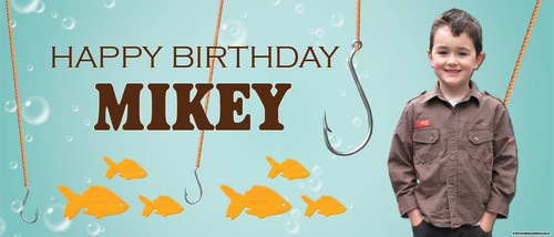 Fishing Get Hooked Party Personalised Birthday Banner.