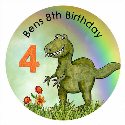 Dinosaur Dino Mite Personalised Birthday Cake Icing - Edible image.