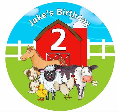 Farmyard Animals Personalised Birthday Cake Icing Sheet - Edible Image.