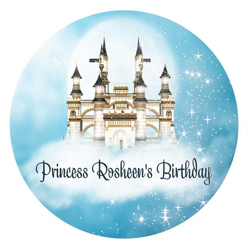 Princess & Castle Personalised Birthday Cake Icing Sheet - Edible Image.