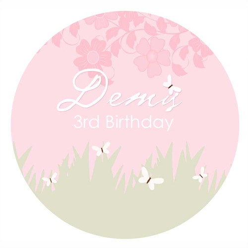 Butterfly Garden Personalised Birthday Cake Icing Sheet - Edible Image.