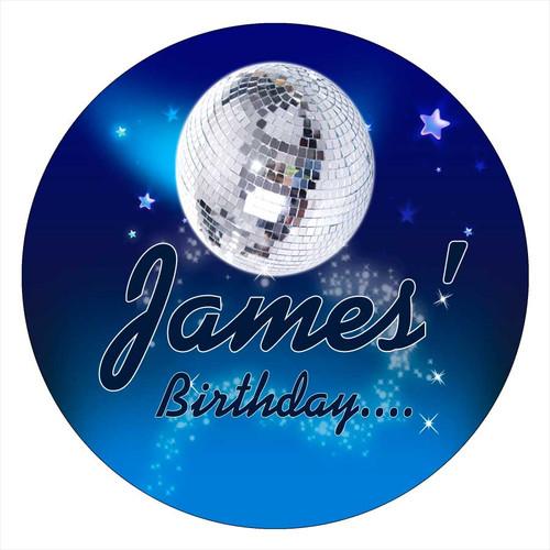 Blue Disco Hip Hop Personalised Birthday Cake Icing Sheet - Edible Image.