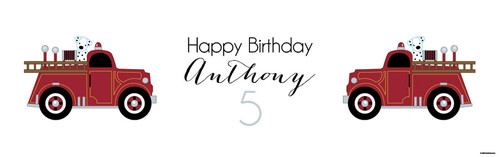 Vintage Fire Engine Personalised Birthday Party Banners.
