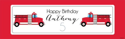 Fire Engine Personalised Birthday Party Banners.