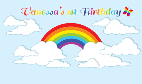 Personalised rainbow birthday party backdrop. Rainbow inspired. Order online in Australia