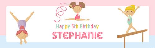 Girls Gymnastics Birthday Party Banner.