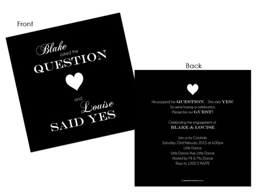 He Popped the Question and She Said Yes! Engagement Invitations or Engagement party invites. Printed in Melbourne. For sale online. Buy with AfterPay, PayPal Pay in 4 or Card
