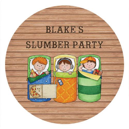 Boys Sleepover Slumber Party Personalised Birthday Cake Icing.