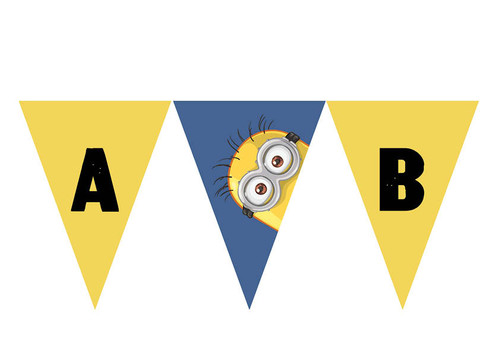 Yellow Minion Personalised Bunting Flags.