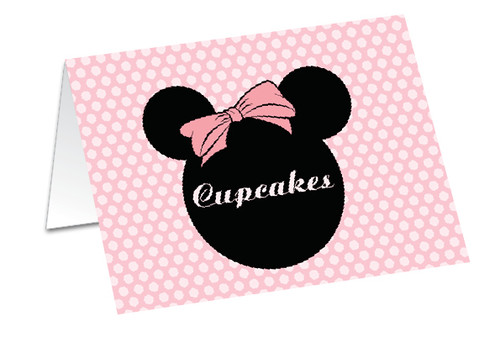 Minnie Mouse buffet cards, placecards and name cards.