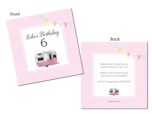 Pink Caravan Girls Party Invitation