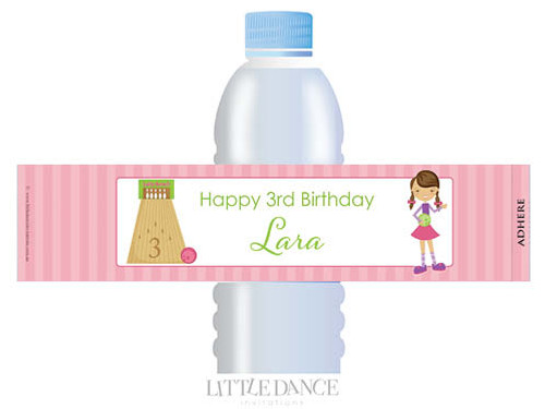 Girls Ten Pin Bowling Personalised Waterbottle Labels.