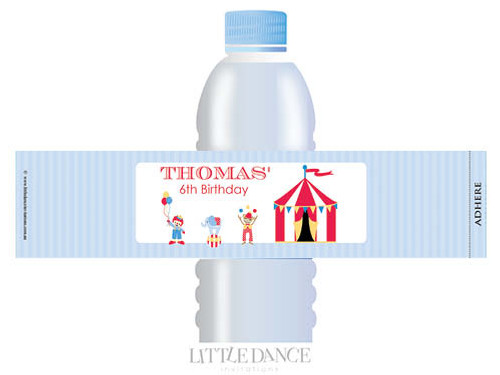 Retro Circus Personalised Waterbottle Labels.