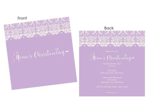 Lovely Rustic Lace Custom Baptism & Christening invitations.