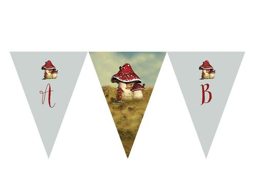 Vintage Toadstool Custom Party Bunting Flags.