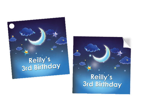 Starry Starry Night Party Square Labels and tags.