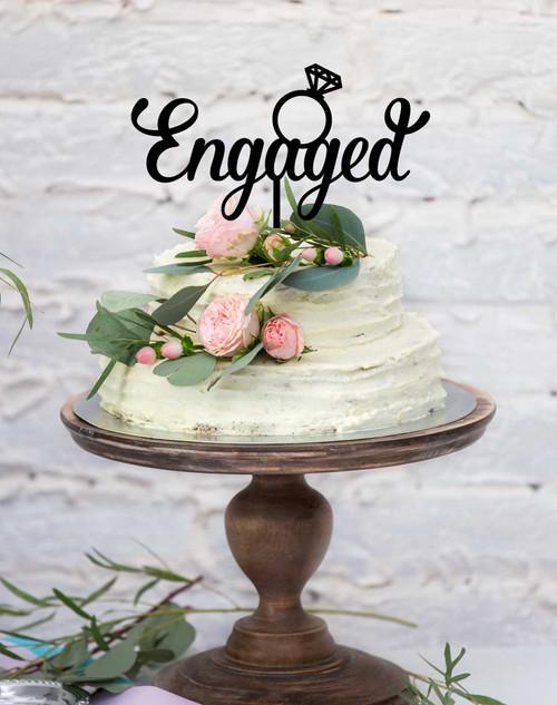 Engaged with Ring  Wedding Cake Topper - wedding cake decoration