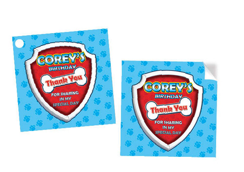 Paw Patrol Party Stickers and Tags