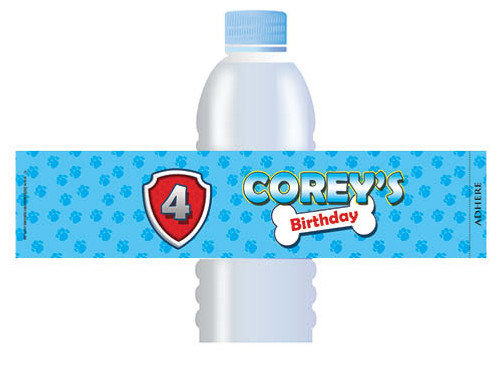 Birthday Party Water Bottle Label - Paw Patrol Inspired