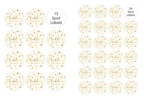 Gold glitter, mint and peach confetti personalised baby shower labels. Buy online in Australia. Afterpay, PayPal, Credit Card accepted.