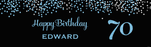 Adult Birthday Party Banner - Blue Glitter