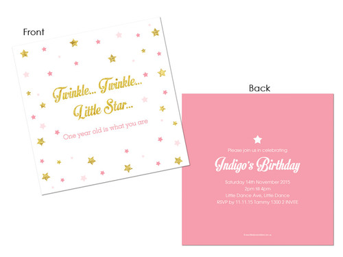 Twinkle Twinkle Little Star First birthday party invitations