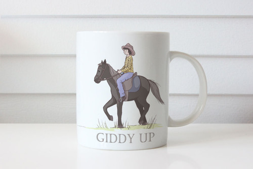 Boys Horse Riding Personalised Name Coffee Mug - Custom Boy and Horse Theme Coffee Cup Gift