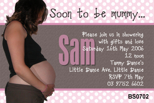 Personalised photo invitation to a baby shower