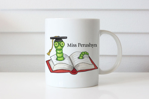 Teachers Gift Personalised Mug - Present for Teacher Name Coffee Cup featuring Bookworm. Sent from Australia