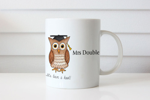 Teachers Gift Wise Owl Personalised Mug - Present for Teacher Name Coffee Cup Featuring Wise Owl - Sent from Melbourne Australia