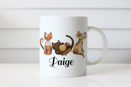 Custom Personalised coffee mug featuring a cat and your name. Made in Melbourne Australia
