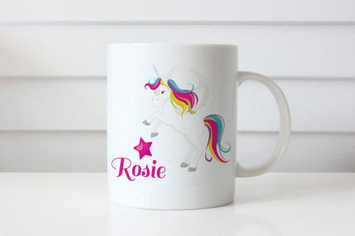 Unicorn personalised custom name coffee mugs - Name mug with Unicorn on it. Printed in Melbourne Australia