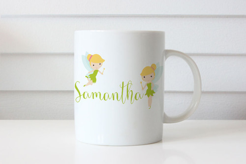 Tinkerbell Fairy Theme Personalised Name Coffee Mug - Custom Tinkerbell Coffee Cup