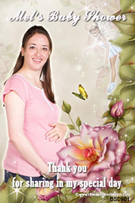 Photo baby shower invitations - Fairy rose garden theme