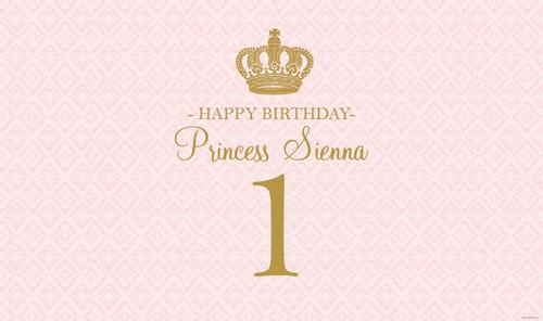 Pink & Gold Princess Party Custom Banner