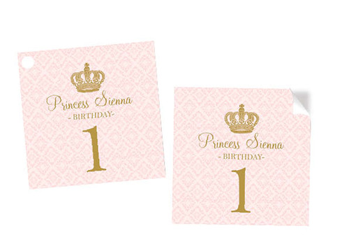 Pink & Gold Princess Party Custom Square Stickers and Tags